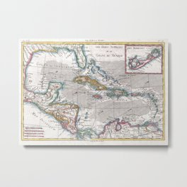 Vintage Map of The Caribbean (1780) Metal Print