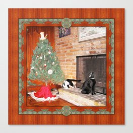 Curious Christmas Cats Canvas Print