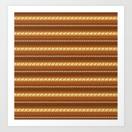 Moose Brown Repeating Pattern Art Print