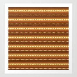 Moose Brown Repeating Pattern Art Print