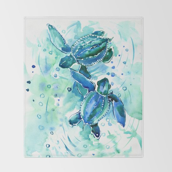 Turquoise Blue Sea Turtles in Ocean by sureart