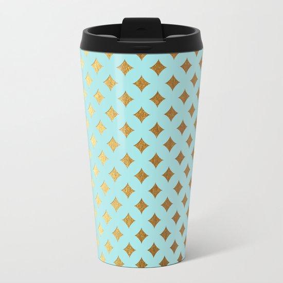 Queenlike- aqua and gold elegant quatrefoil ornament pattern Metal Travel Mug