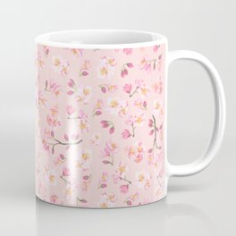 Cherry Blossom Pattern on Peach Background Coffee Mug