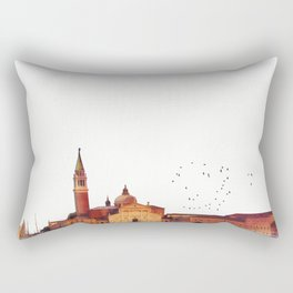 Soft watercolor sunset with views of San Giorgio island, Venice, Italy. Rectangular Pillow