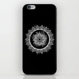 Bohemian Lace Paisley Mandala White on Black iPhone Skin