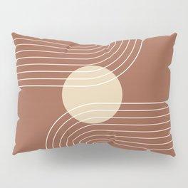 Mid Century Modern Geometric 17 (Terracotta and Beige) Pillow Sham