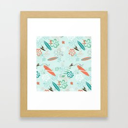 Surfs Up Blue Framed Art Print