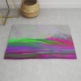 Clouds Rolling In Abstract Landscape Purple and Hot Pink Rug