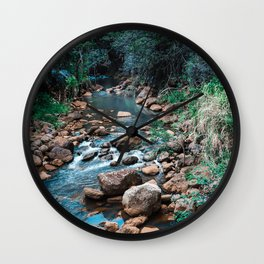 Flowing Botanical Garden Creek Portrait Wall Clock