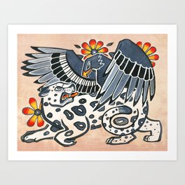 Golden Eagle, Jaguar, and Peyote Flowers Art Print