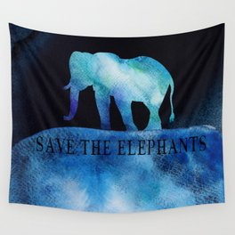 Save The Elephants Watercolor Painting Wall Tapestry