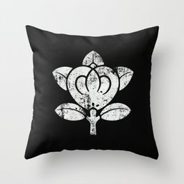 Tachibana Clan · White Mon · Distressed Throw Pillow