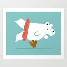 You Lift Me Up - Polar bear doing ballet Art Print