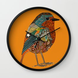 robin orange Wall Clock