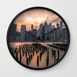 New york city long exposure Wall Clock