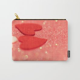 Hearts over pink abstract background with bokeh defocused lights Carry-All Pouch
