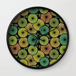 Retro flowers and leaves Wall Clock