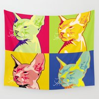 sphynx Wall Tapestries featuring Sphynx cat by LaDa