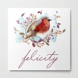Robin - Bird Watercolor Metal Print