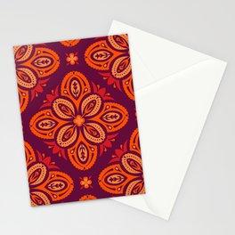 Nordic Folk Art Quatrefoils in Red Hues on Dark Plum (pattern) Stationery Cards