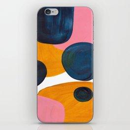 Mid Century Modern Abstract Minimalist Retro Vintage Style Pink Navy Blue Yellow Rollie Pollie Ollie iPhone Skin