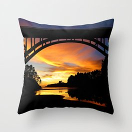 Sunset at Frederick W. Panhorst Bridge in Russian Gulch State Park Throw Pillow