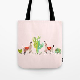 Cute alpacas with pink background Tote Bag