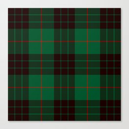 Dark Green Tartan with Black and Red Stripes Canvas Print