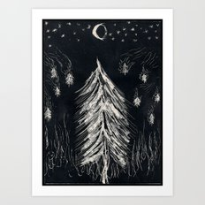 Midnight In A  Burning Forest Art Print