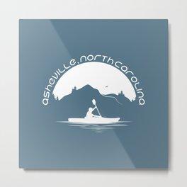 Asheville - Kayaking - AVL 9 White on Greyblue Metal Print