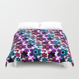 Rainbow Floral Abstract Duvet Cover