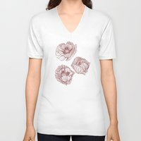 poppies V-neck T-shirts featuring Poppies by Annike