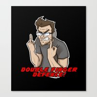 markiplier Canvas Prints featuring Markiplier - DOUBLE FINGER DEFENCE by tru Creative Designs