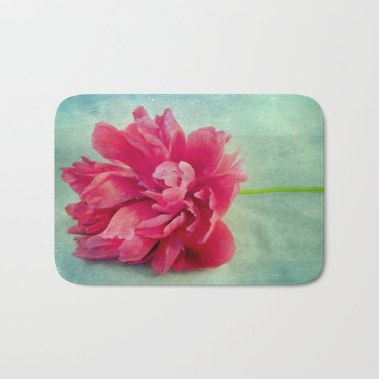 Peony on Blue Bath Mat