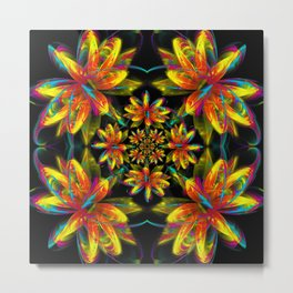Fire Fractal Water Lily in a House of Mirrors Metal Print
