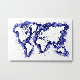 Navy blue watercolor world map with strokes Metal Print