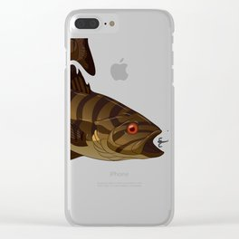 Smallmouth Bass Chasing Lure Spinner Crankbait   Clear iPhone Case
