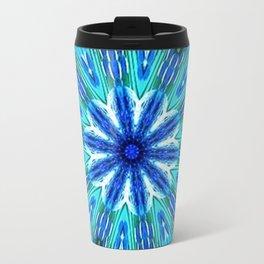 Teal Blue Floral Kaleidoscope Travel Mug
