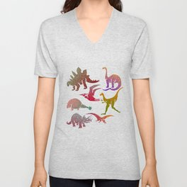 Happy Dinosaurs Unisex V-Neck