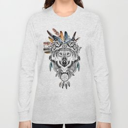 Bohemian Wolf with Feather Headdress Long Sleeve T-shirt