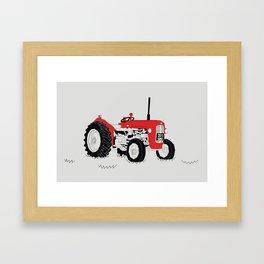 Vintage Tractor Red Framed Art Print