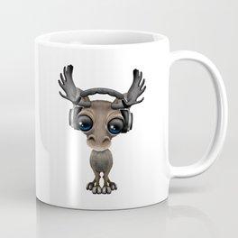 Cute Musical Moose Dj Wearing Headphones Blue Coffee Mug