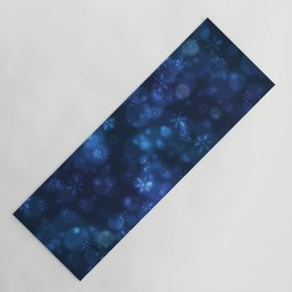 Blue Snowflakes Winter Christmas Pattern Yoga Mat