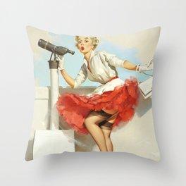 Woman Looking Through Telescope Throw Pillow
