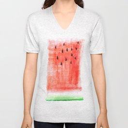 watermelon / watercolor Unisex V-Neck