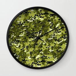 Pear Green Popular Multi Camo Pattern Wall Clock