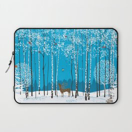 Birch trees with herds of bullfinches and various animals around a winter forest Laptop Sleeve