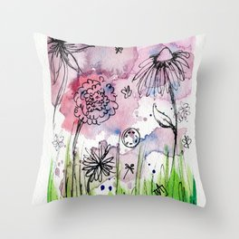 Flower Doodle 1 Throw Pillow