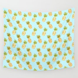 Blue Tropical Pineapple Pattern Wall Tapestry
