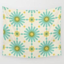 Geometric Starbursts - Blue + Yellow Wall Tapestry